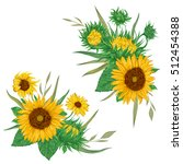 sunflowers set. collection... | Shutterstock .eps vector #512454388