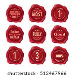 set of wax stamp. stamp on red... | Shutterstock .eps vector #512467966