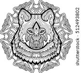 strong wolf is drawn by hand... | Shutterstock .eps vector #512493802