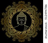 buddha head with round mandala... | Shutterstock .eps vector #512494786
