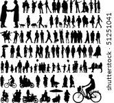 collection of people silhouettes | Shutterstock .eps vector #51251041