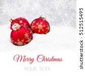 three red christmas balls on... | Shutterstock . vector #512515495