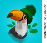 cute toucan bird in a winter... | Shutterstock . vector #512539822