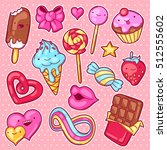 set of kawaii sweets and... | Shutterstock .eps vector #512555602