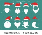 santa hats  moustache and... | Shutterstock .eps vector #512556955
