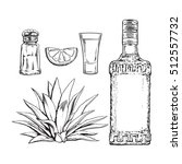 set black and white of tequila... | Shutterstock .eps vector #512557732