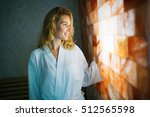 beautiful woman enjoying salt... | Shutterstock . vector #512565598