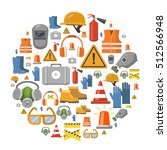 safety work flat vector icons... | Shutterstock .eps vector #512566948
