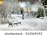 Street Light And A Bench. Snow...