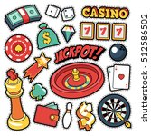 gambling casino badges  patches ... | Shutterstock .eps vector #512586502