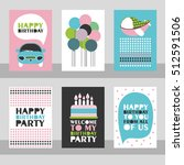 set of 6 cute creative cards... | Shutterstock .eps vector #512591506