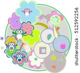 birthday party card with cute... | Shutterstock . vector #512592256
