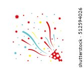 exploding party popper with... | Shutterstock .eps vector #512594026