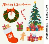 christmas icons set. holiday... | Shutterstock .eps vector #512594695