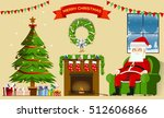 santa relax in the lodges... | Shutterstock .eps vector #512606866
