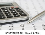 calculator and pen on a... | Shutterstock . vector #51261751