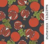 fresh pomegranates hand drawn...   Shutterstock .eps vector #512623996