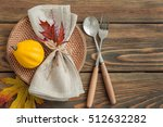 autumn table setting on wooden... | Shutterstock . vector #512632282