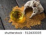 grain mustard in a linen bag... | Shutterstock . vector #512633335