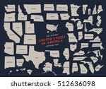 vintage map of united states of ... | Shutterstock .eps vector #512636098