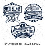 vintage salmon fishing emblems  ... | Shutterstock .eps vector #512653432