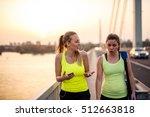 female friends enjoying a break ... | Shutterstock . vector #512663818