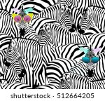 Stock vector abstract illustration herd of zebras animal seamless pattern fashion striped print color black 512664205