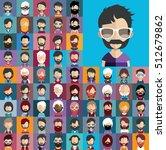 set of no shave november people ... | Shutterstock .eps vector #512679862