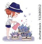 cute girl with flowers vector... | Shutterstock .eps vector #512680012