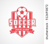 soccer emblem red flat icon on... | Shutterstock .eps vector #512693872