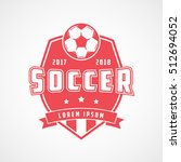 soccer emblem red flat icon on... | Shutterstock .eps vector #512694052