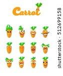 set of smiles.cartoon carrot...   Shutterstock .eps vector #512699158