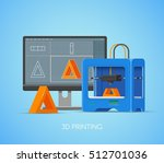 3d printing concept poster in... | Shutterstock . vector #512701036