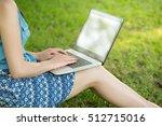 beautiful asian woman using... | Shutterstock . vector #512715016