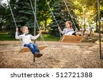 smiling little girl and boy on... | Shutterstock . vector #512721388