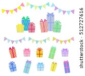 colorful gift boxes and garland ... | Shutterstock .eps vector #512727616