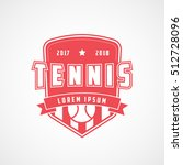 tennis emblem red flat icon on... | Shutterstock .eps vector #512728096