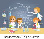 pupils in chemistry laboratory | Shutterstock .eps vector #512731945