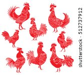 Set Of Roosters As Animals...
