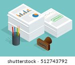 isometric stack of documents... | Shutterstock .eps vector #512743792