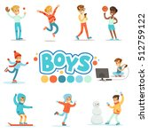 happy boys and their expected... | Shutterstock .eps vector #512759122