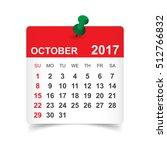 october 2017. calendar vector... | Shutterstock .eps vector #512766832