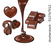 set of chocolate   heart shaped ... | Shutterstock .eps vector #512767012