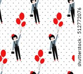 cute girl with red balloons... | Shutterstock .eps vector #512772076