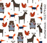 Cute Forest Animals Seamless...