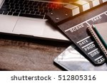 office things with movie... | Shutterstock . vector #512805316