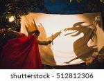 the boy fights a dragon