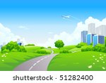 landscape   green hills with... | Shutterstock .eps vector #51282400