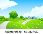 green landscape with trees and... | Shutterstock .eps vector #51282406