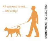 silhouette of a man walking a... | Shutterstock .eps vector #512860402